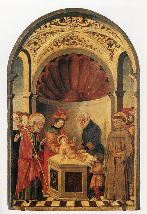 Ignoto (ambito trevigliese), Circoncisione di Gesù bambino, fine XV sec. olio su tavola