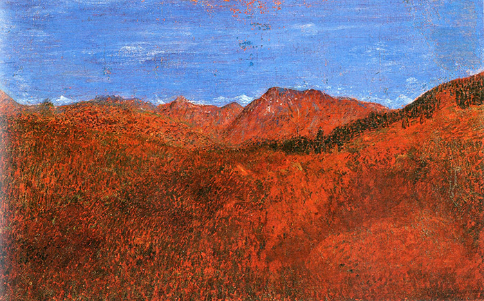 Giuseppe Pellizza da Volpedo, Colline piemontesi o paesaggio dell'Engadina, 1906 ca., olio su tela incollato su tavola