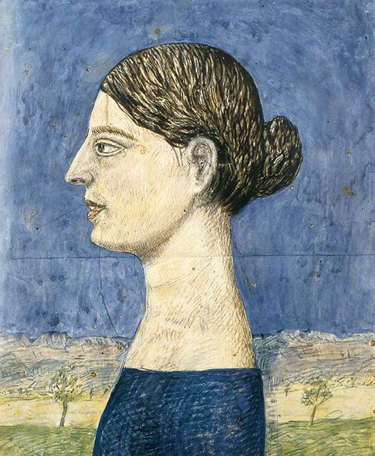 Tullio Garbari, Busto di donna, 1921-24, tempera su carta