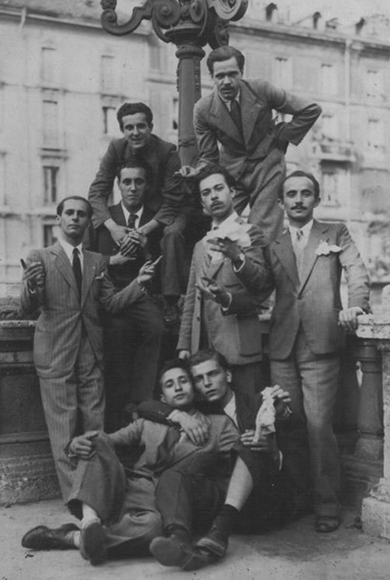 Trento Longaretti con i compagni di Brera, anni '30